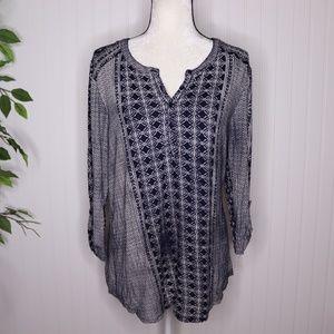Dressbarn Boho Printed Blouse Size Lg